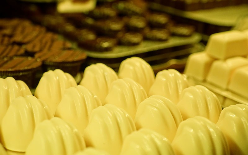Photo of Trays full of chocolates at the Belgian Chocolate Shop, Toronto